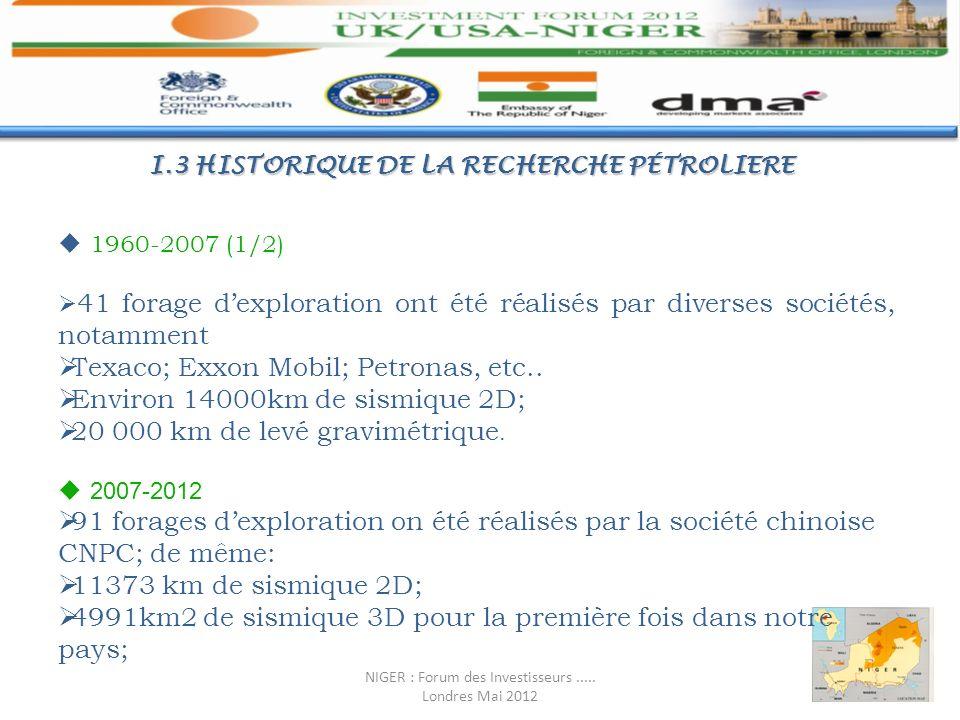 I.3 HISTORIQUE DE LA RECHERCHE PÉTROLIERE 1960-2007 (1/2) 41 forage dexploration ont été réalisés par diverses sociétés, notamment Texaco; Exxon Mobil