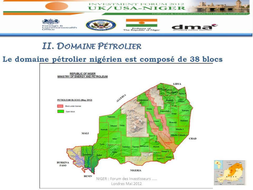 Le domaine pétrolier nigérien est composé de 38 blocs II. D OMAINE P ÉTROLIER NIGER : Forum des Investisseurs..... Londres Mai 2012
