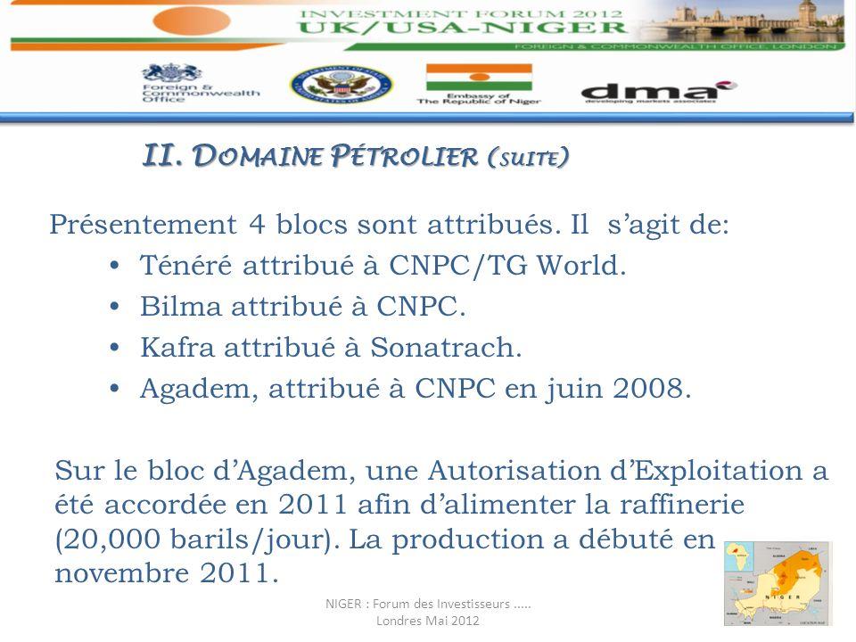 Présentement 4 blocs sont attribués. Il sagit de: Ténéré attribué à CNPC/TG World. Bilma attribué à CNPC. Kafra attribué à Sonatrach. Agadem, attribué
