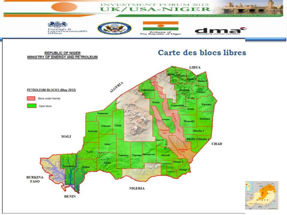27 NIGER : Forum des Investisseurs..... Londres Mai 2012 Carte des blocs libres