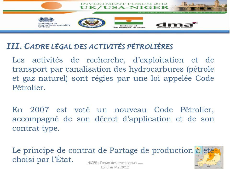 III. C ADRE LÉGAL DES ACTIVITÉS PÉTROLIÈRES Les activités de recherche, dexploitation et de transport par canalisation des hydrocarbures (pétrole et g