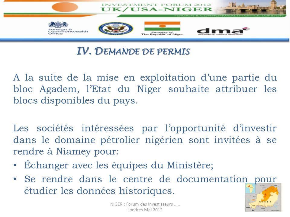 A la suite de la mise en exploitation dune partie du bloc Agadem, lEtat du Niger souhaite attribuer les blocs disponibles du pays. Les sociétés intére