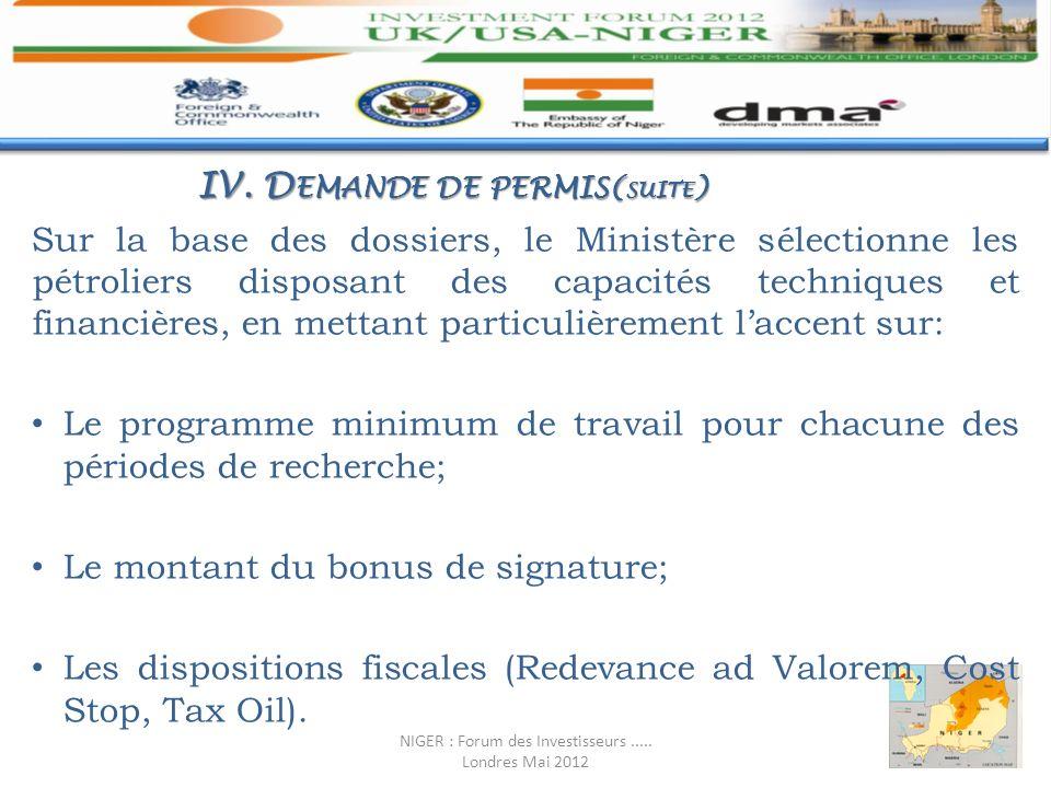 Sur la base des dossiers, le Ministère sélectionne les pétroliers disposant des capacités techniques et financières, en mettant particulièrement lacce