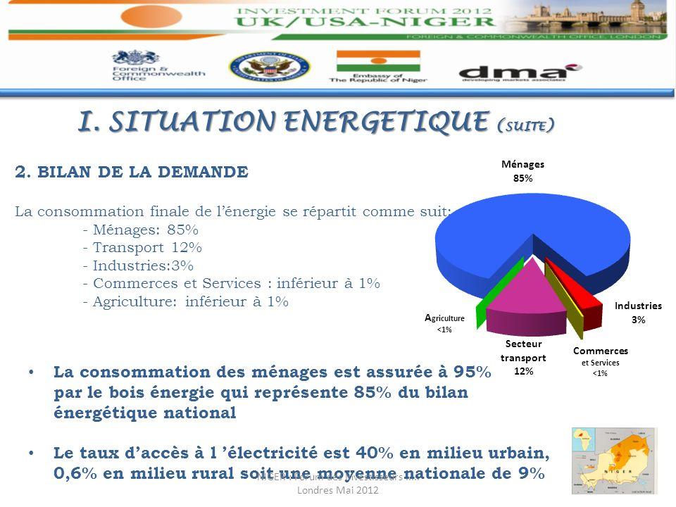 2. BILAN DE LA DEMANDE La consommation finale de lénergie se répartit comme suit: - Ménages: 85% - Transport 12% - Industries:3% - Commerces et Servic