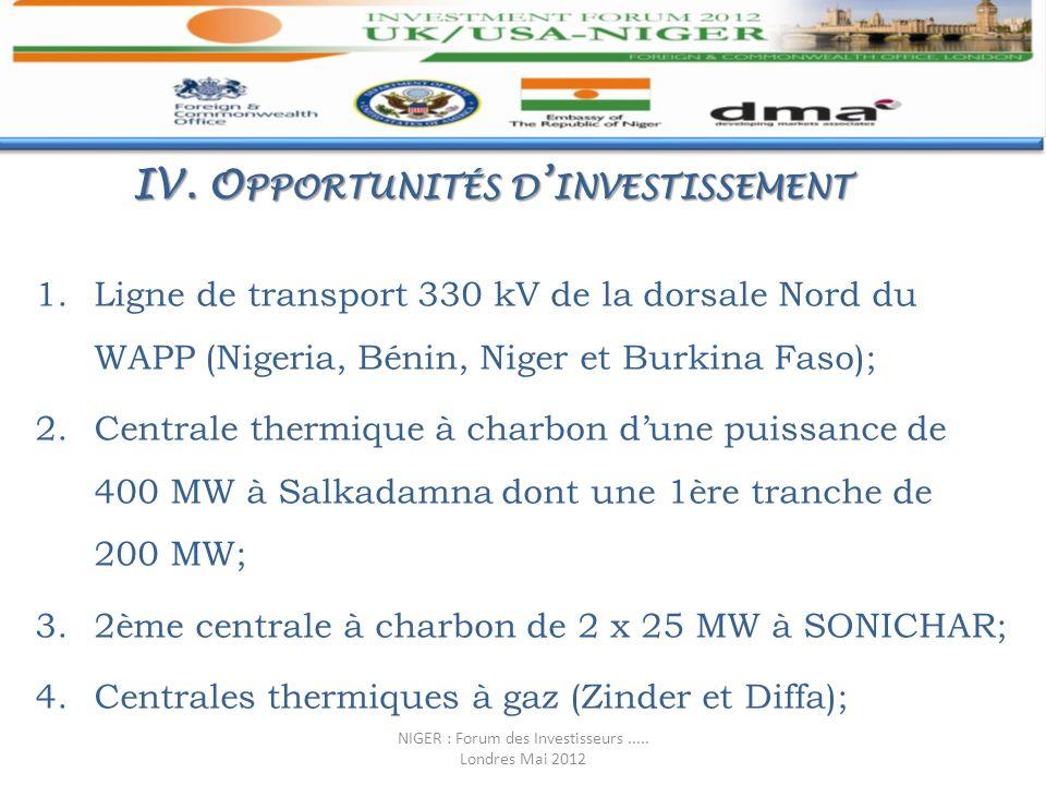 IV. O PPORTUNITÉS D INVESTISSEMENT 1.Ligne de transport 330 kV de la dorsale Nord du WAPP (Nigeria, Bénin, Niger et Burkina Faso); 2.Centrale thermiqu