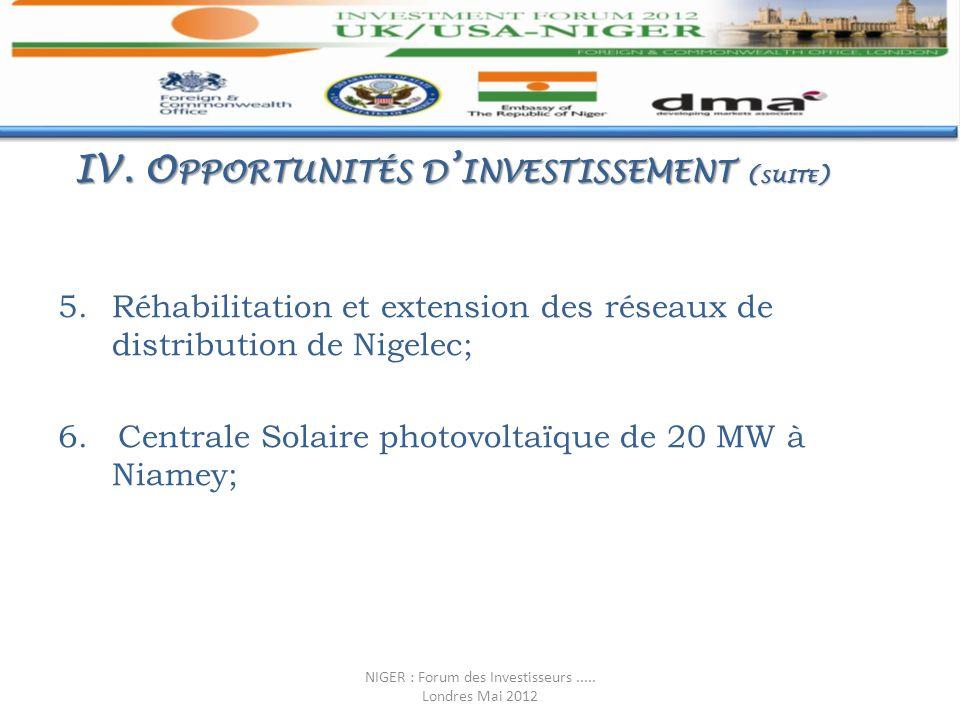 5.Réhabilitation et extension des réseaux de distribution de Nigelec; 6. Centrale Solaire photovoltaïque de 20 MW à Niamey; IV. O PPORTUNITÉS D INVEST