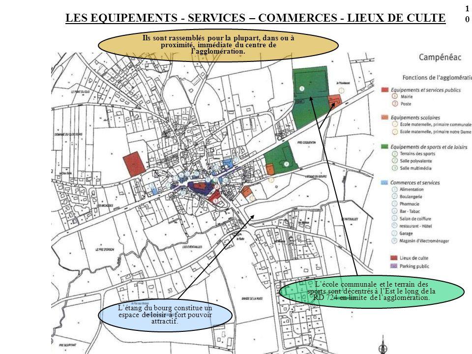 LES EQUIPEMENTS - SERVICES – COMMERCES - LIEUX DE CULTE Ils sont rassemblés pour la plupart, dans ou à proximité, immédiate du centre de lagglomération.