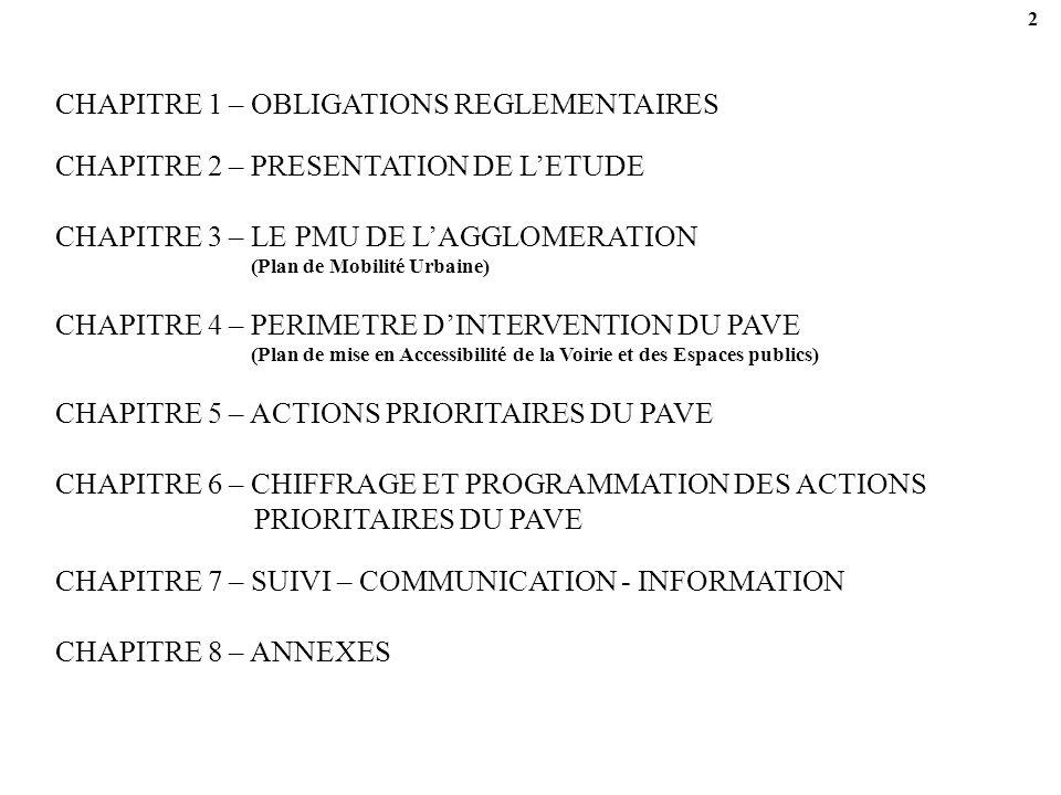 2 CHAPITRE 1 – OBLIGATIONS REGLEMENTAIRES CHAPITRE 3 – LE PMU DE LAGGLOMERATION (Plan de Mobilité Urbaine) CHAPITRE 5 – ACTIONS PRIORITAIRES DU PAVE CHAPITRE 8 – ANNEXES CHAPITRE 2 – PRESENTATION DE LETUDE CHAPITRE 4 – PERIMETRE DINTERVENTION DU PAVE (Plan de mise en Accessibilité de la Voirie et des Espaces publics) CHAPITRE 6 – CHIFFRAGE ET PROGRAMMATION DES ACTIONS PRIORITAIRES DU PAVE CHAPITRE 7 – SUIVI – COMMUNICATION - INFORMATION