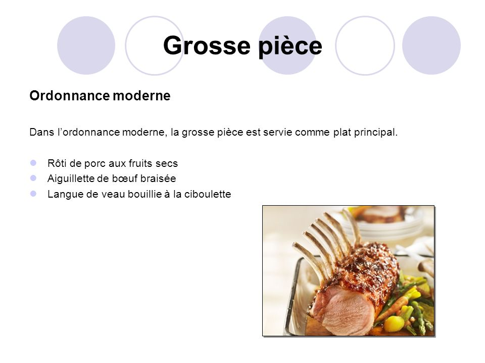 Grosse pièce Ordonnance moderne Dans lordonnance moderne, la grosse pièce est servie comme plat principal. Rôti de porc aux fruits secs Aiguillette de