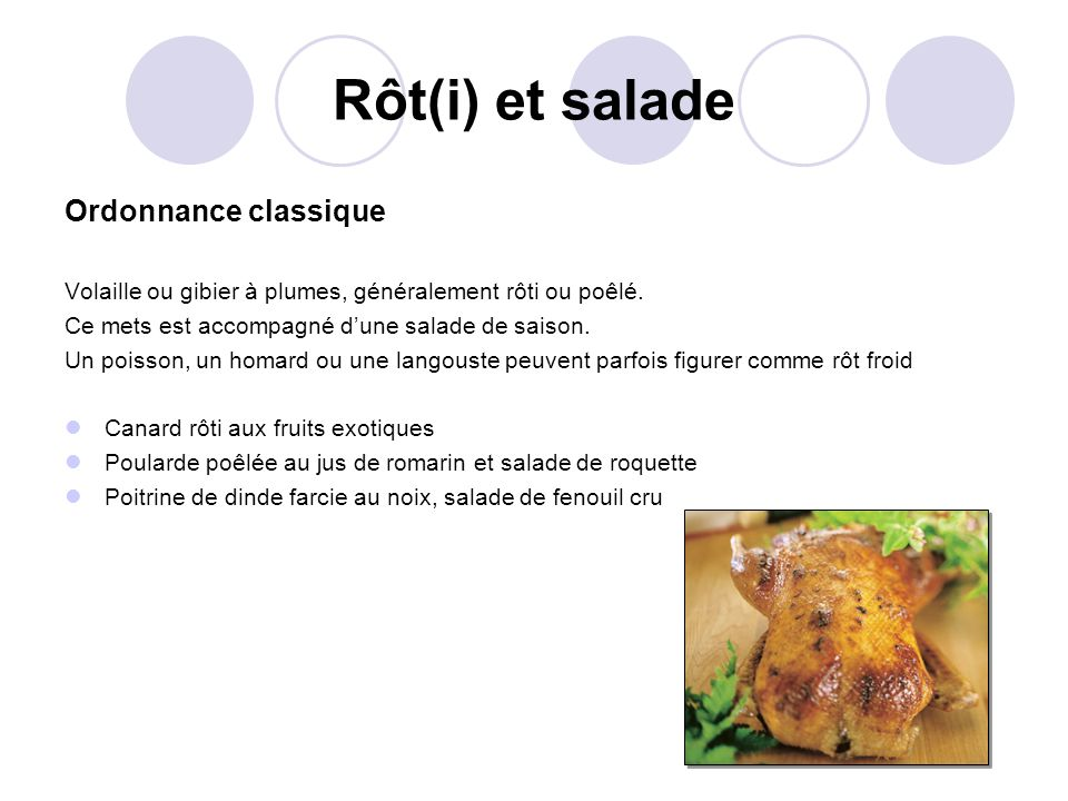 Rôt(i) et salade Ordonnance classique Volaille ou gibier à plumes, généralement rôti ou poêlé. Ce mets est accompagné dune salade de saison. Un poisso