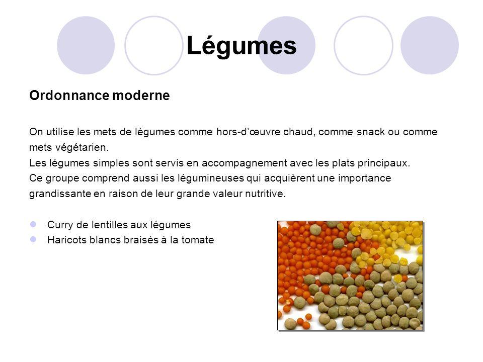 Légumes Ordonnance moderne On utilise les mets de légumes comme hors-dœuvre chaud, comme snack ou comme mets végétarien. Les légumes simples sont serv