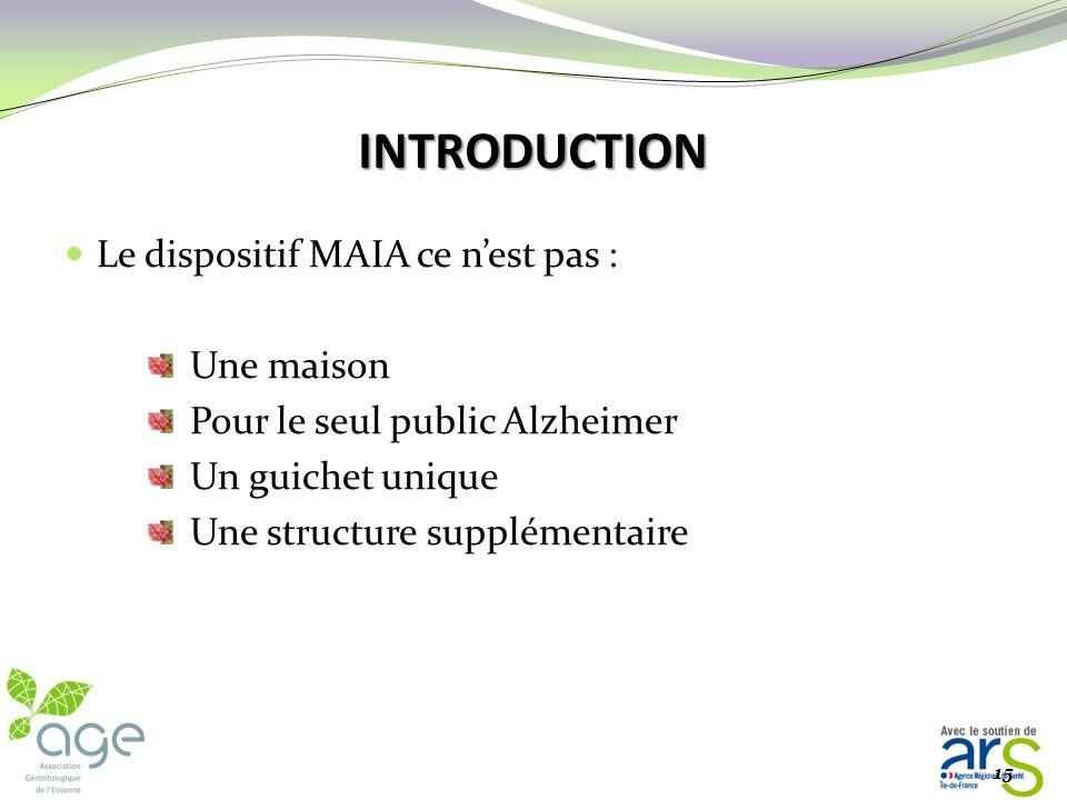 INTRODUCTION Le dispositif MAIA est une des mesures phares du plan Alzheimer 2008-2012 : la mesure n°4 Ce dispositif a pour objectif : de mettre fin a