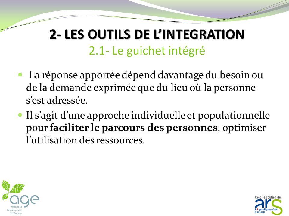 2- LES OUTILS DE LINTEGRATION Deux outils permettent aux partenaires dun même territoire de parvenir à un système professionnel intégré : Le guichet i