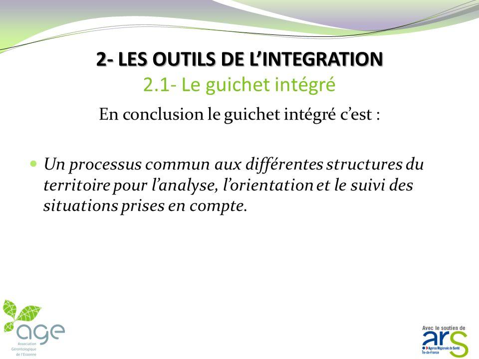 2- LES OUTILS DE LINTEGRATION 2- LES OUTILS DE LINTEGRATION 2.1- Le guichet intégré GUICHET UNIQUE PLATEFORME DE SERVICES