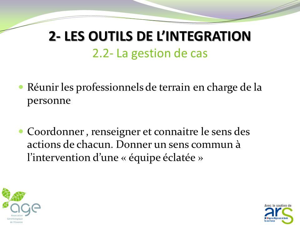 2-LES OUTILS DE LINTEGRATION 2-LES OUTILS DE LINTEGRATION 2.2- La gestion de cas Le gestionnaire de cas doit intervenir quand il y a une nécessité de