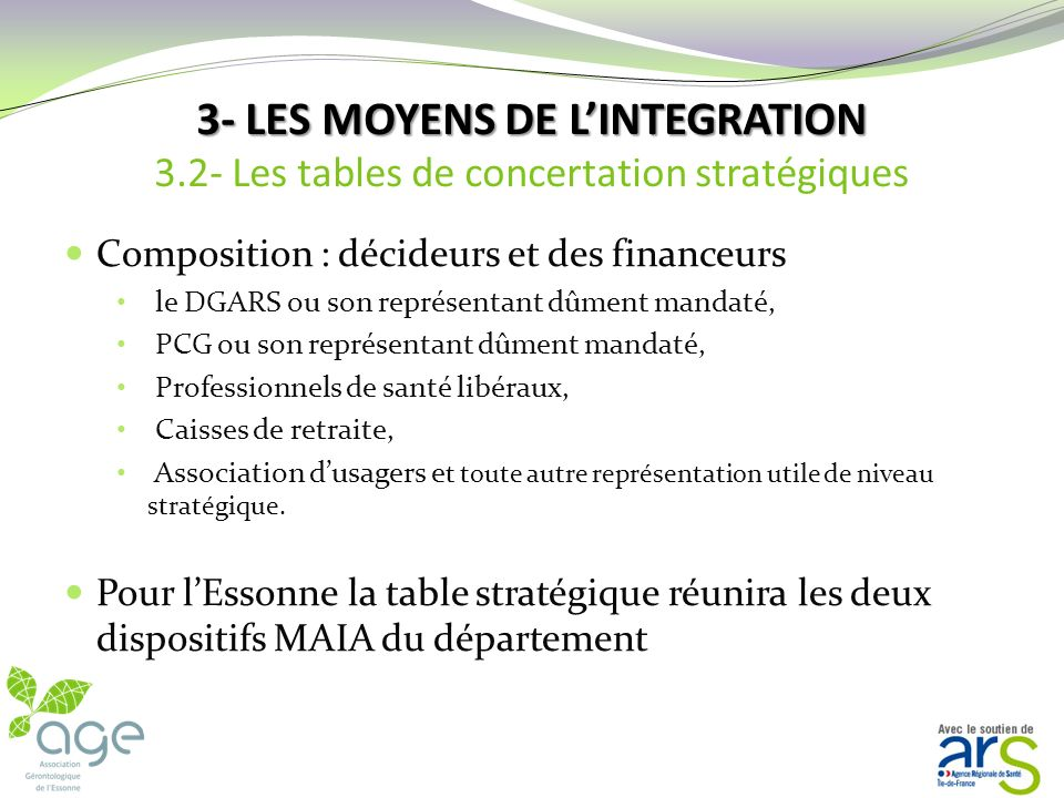3- LES MOYENS DE LINTEGRATION Il existe deux types de tables : Tables de concertation stratégiques, Tables de concertation tactiques, 34