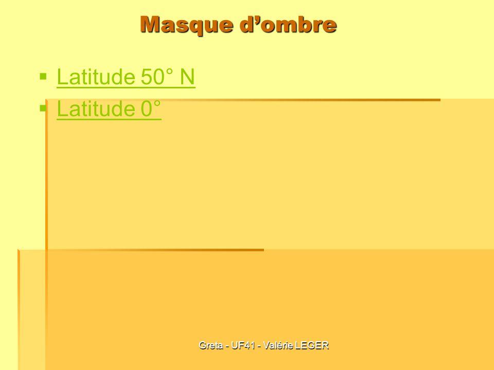 Greta - UF41 - Valérie LEGER Masque dombre Latitude 50° N Latitude 0°