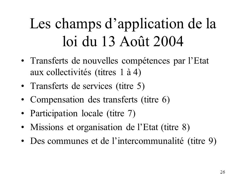 27 Les ambitions de la loi du 13 Août 2004 Supprimer les dispositifs de co-gestion et co-responsabilité entre lEtat et les CT Clarifier les champs de compétences (au besoin avec un chef de file) Etaler les réformes pour les adapter aux réalités locales (expérimentation) Réformer lEtat