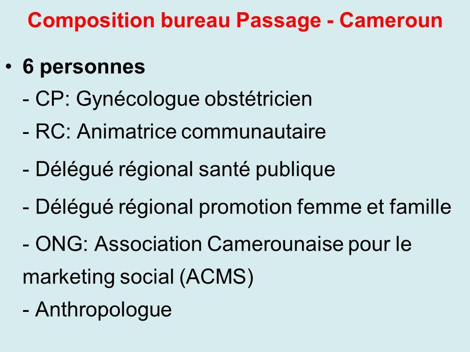 Composition bureau Passage - Cameroun 6 personnes - CP: Gynécologue obstétricien - RC: Animatrice communautaire - Délégué régional santé publique - Dé