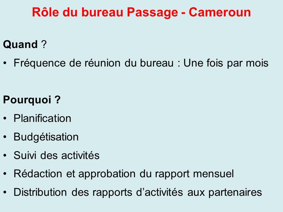 Rôle du bureau Passage - Cameroun Quand ? Fréquence de réunion du bureau : Une fois par mois Pourquoi ? Planification Budgétisation Suivi des activité