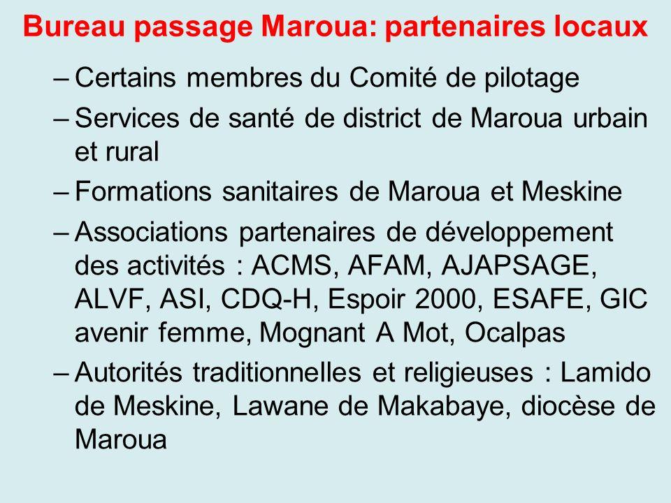Bureau passage Maroua: partenaires locaux –Certains membres du Comité de pilotage –Services de santé de district de Maroua urbain et rural –Formations
