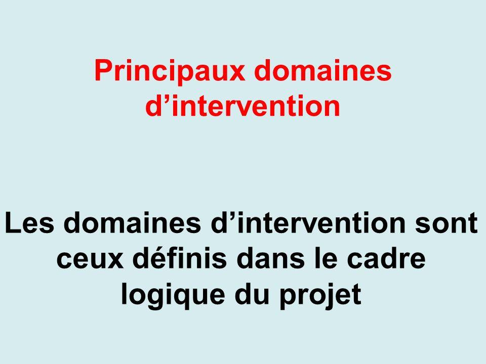 Principaux domaines dintervention Les domaines dintervention sont ceux définis dans le cadre logique du projet