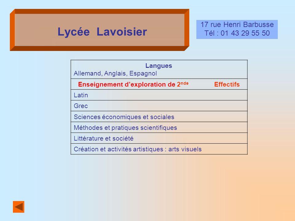 Lycée Lavoisier 17 rue Henri Barbusse Tél : 01 43 29 55 50 Langues Allemand, Anglais, Espagnol Enseignement dexploration de 2 nde Effectifs Latin Grec