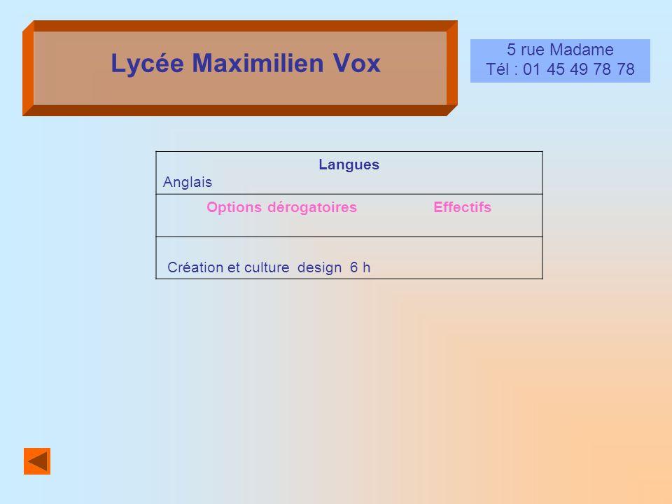 Lycée Maximilien Vox 5 rue Madame Tél : 01 45 49 78 78 Langues Anglais Options dérogatoires Effectifs Création et culture design 6 h