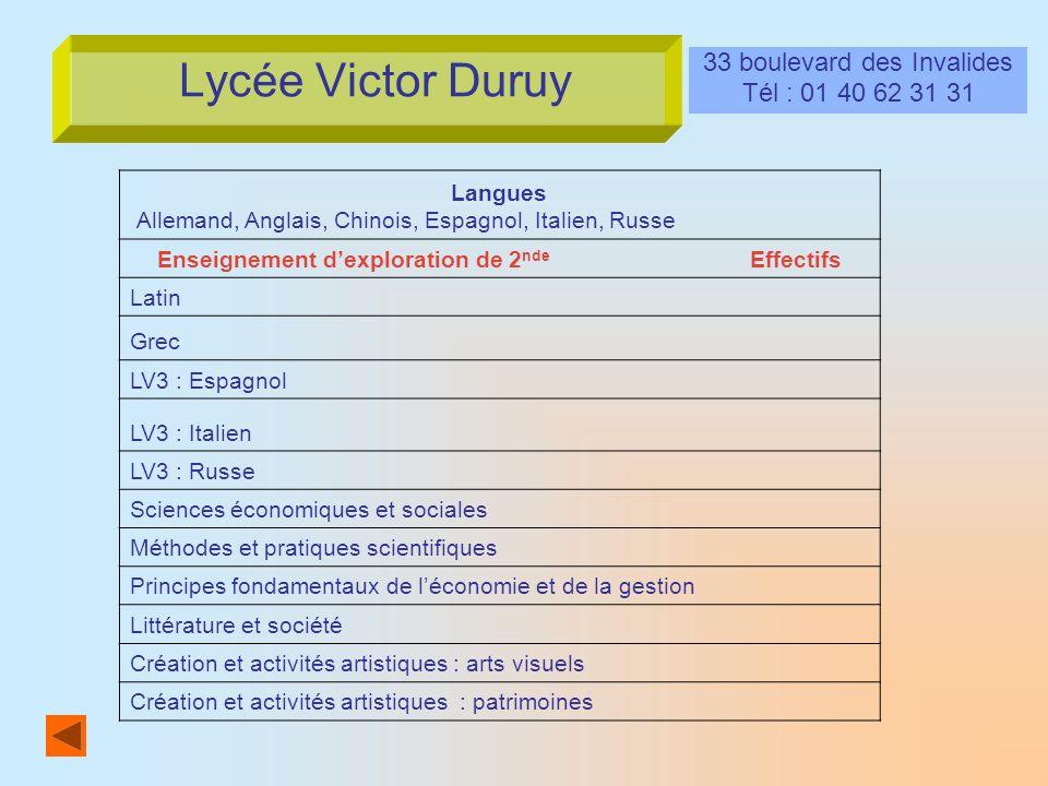 Lycée Victor Duruy 33 boulevard des Invalides Tél : 01 40 62 31 31 Langues Allemand, Anglais, Chinois, Espagnol, Italien, Russe Enseignement dexplorat