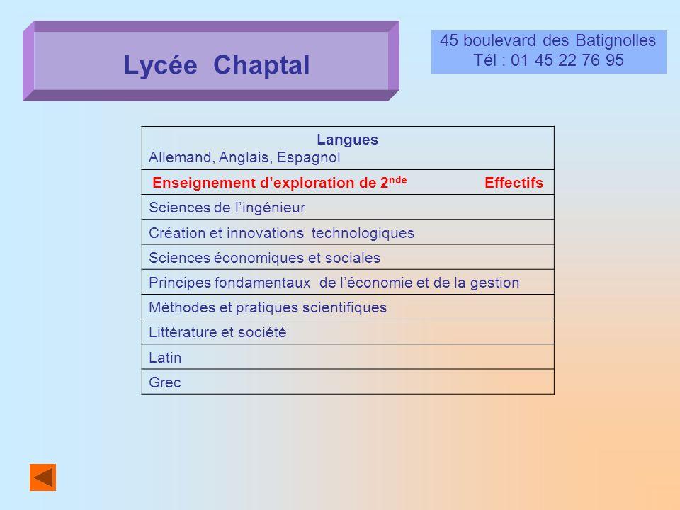 Lycée Chaptal 45 boulevard des Batignolles Tél : 01 45 22 76 95 Langues Allemand, Anglais, Espagnol Enseignement dexploration de 2 nde Effectifs Scien