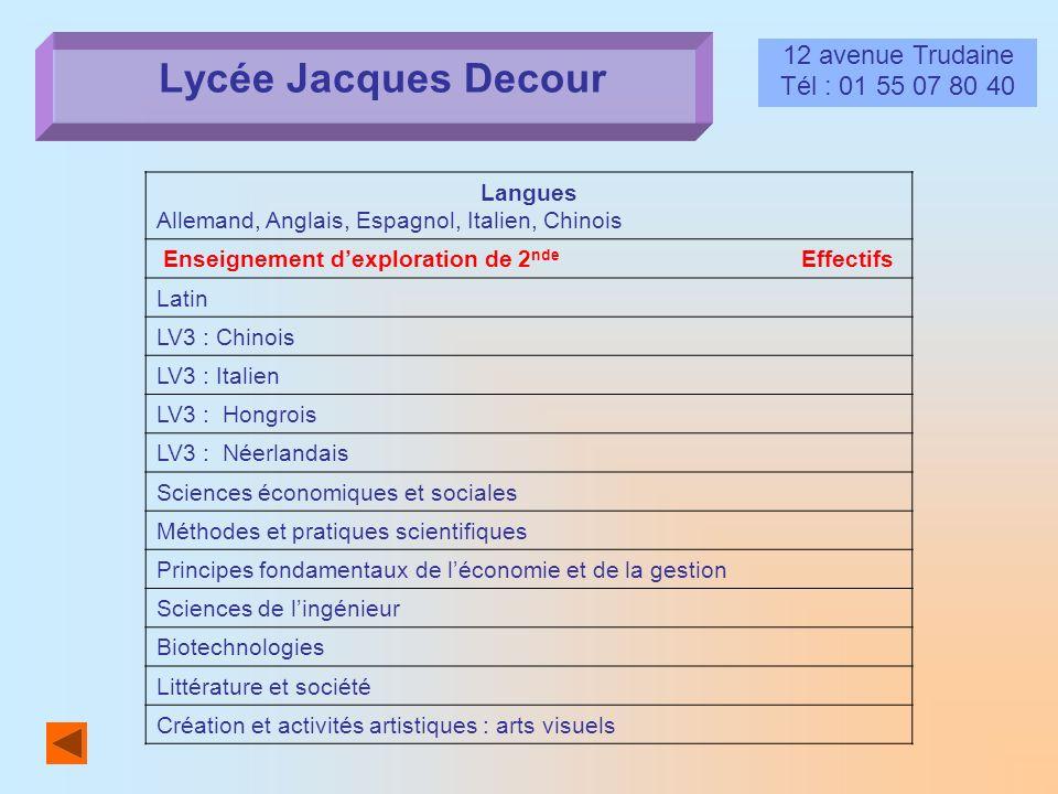 Lycée Jacques Decour 12 avenue Trudaine Tél : 01 55 07 80 40 Langues Allemand, Anglais, Espagnol, Italien, Chinois Enseignement dexploration de 2 nde