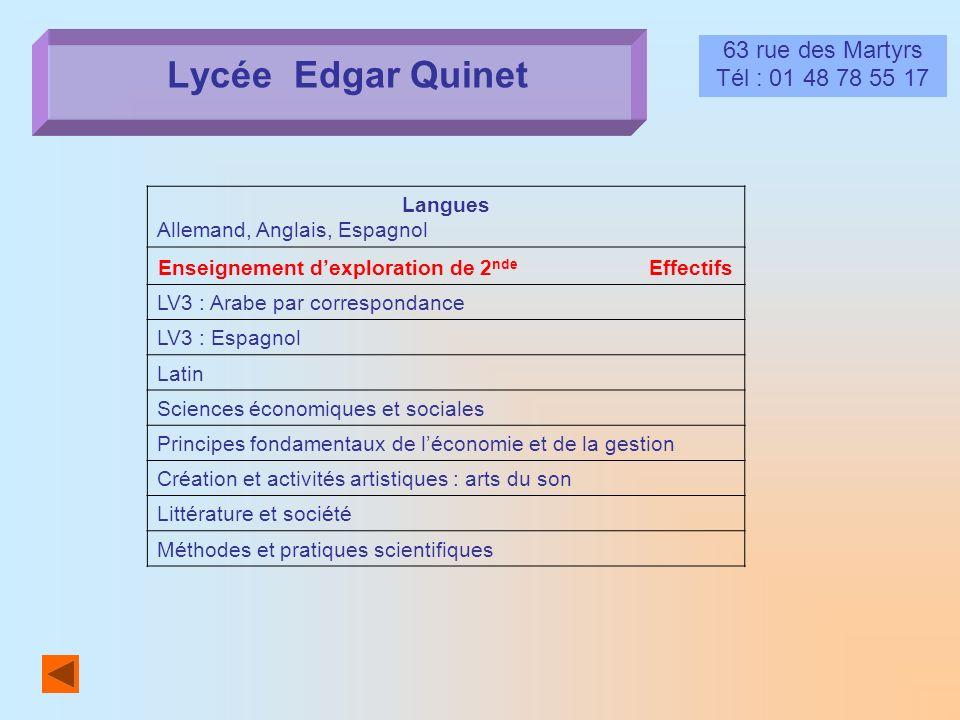 Lycée Edgar Quinet 63 rue des Martyrs Tél : 01 48 78 55 17 Langues Allemand, Anglais, Espagnol Enseignement dexploration de 2 nde Effectifs LV3 : Arab