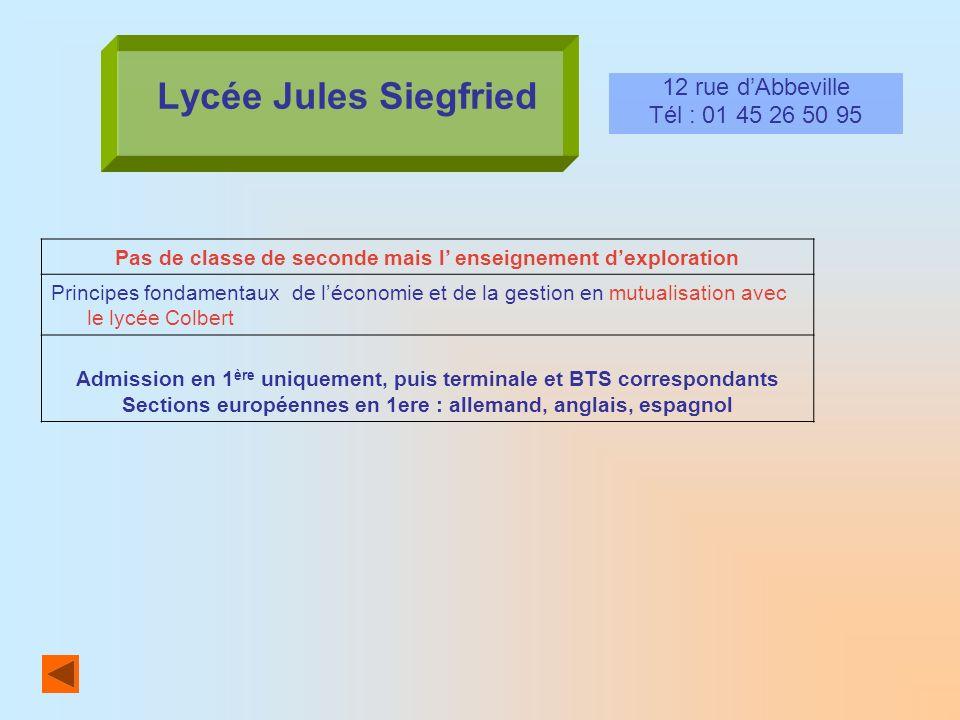 Lycée Jules Siegfried 12 rue dAbbeville Tél : 01 45 26 50 95 Pas de classe de seconde mais l enseignement dexploration Principes fondamentaux de lécon