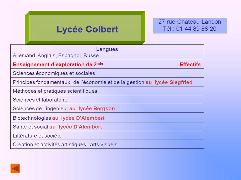 Lycée Colbert 27 rue Chateau Landon Tél : 01 44 89 88 20 Langues Allemand, Anglais, Espagnol, Russe Enseignement dexploration de 2 nde Effectifs Scien