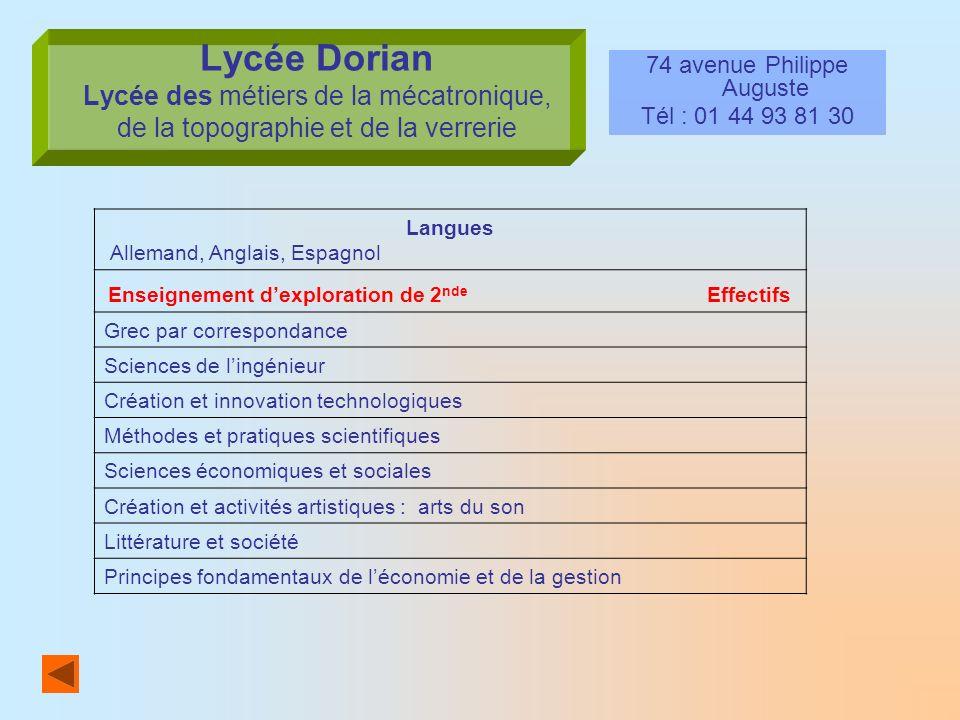 Lycée Dorian Lycée des métiers de la mécatronique, de la topographie et de la verrerie 74 avenue Philippe Auguste Tél : 01 44 93 81 30 Langues Alleman