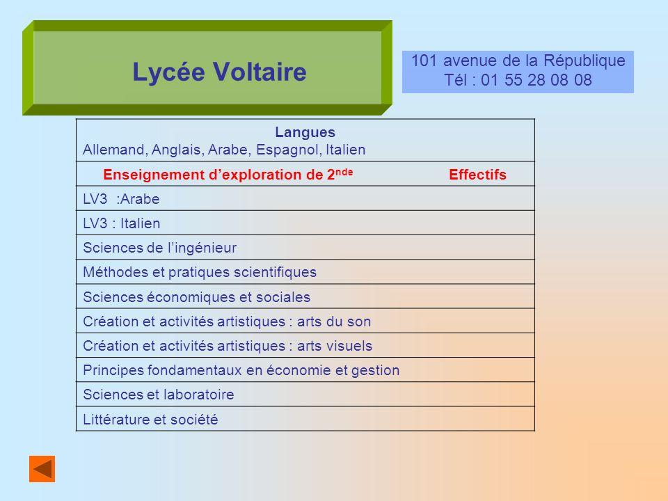 Lycée Voltaire 101 avenue de la République Tél : 01 55 28 08 08 Langues Allemand, Anglais, Arabe, Espagnol, Italien Enseignement dexploration de 2 nde