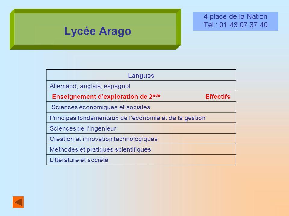 Lycée Arago 4 place de la Nation Tél : 01 43 07 37 40 Langues Allemand, anglais, espagnol Enseignement dexploration de 2 nde Effectifs Sciences économ