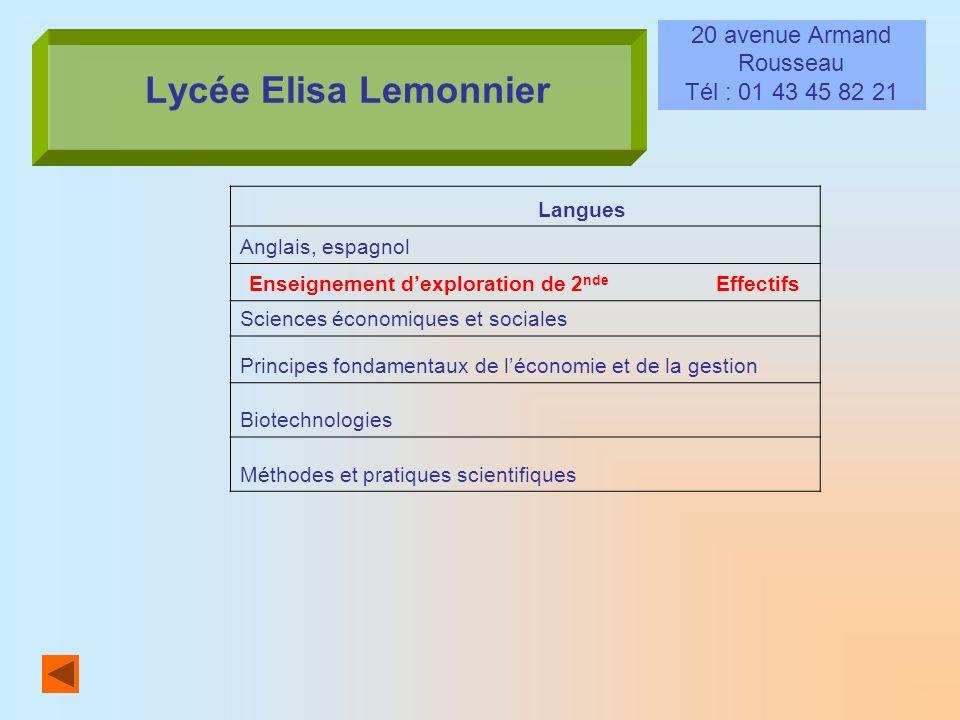 Lycée Elisa Lemonnier 20 avenue Armand Rousseau Tél : 01 43 45 82 21 Langues Anglais, espagnol Enseignement dexploration de 2 nde Effectifs Sciences é