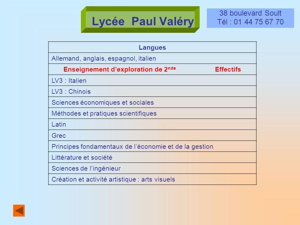 Lycée Paul Valéry 38 boulevard Soult Tél : 01 44 75 67 70 Langues Allemand, anglais, espagnol, italien Enseignement dexploration de 2 nde Effectifs LV