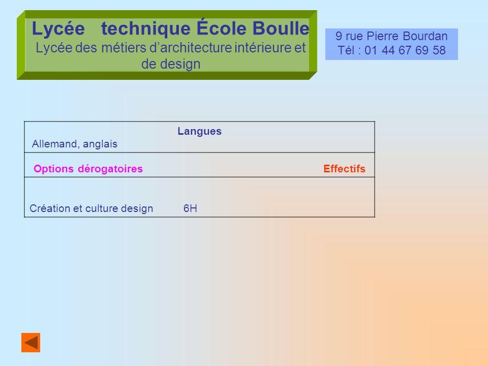 Lycée technique École Boulle Lycée des métiers darchitecture intérieure et de design 9 rue Pierre Bourdan Tél : 01 44 67 69 58 Langues Allemand, angla