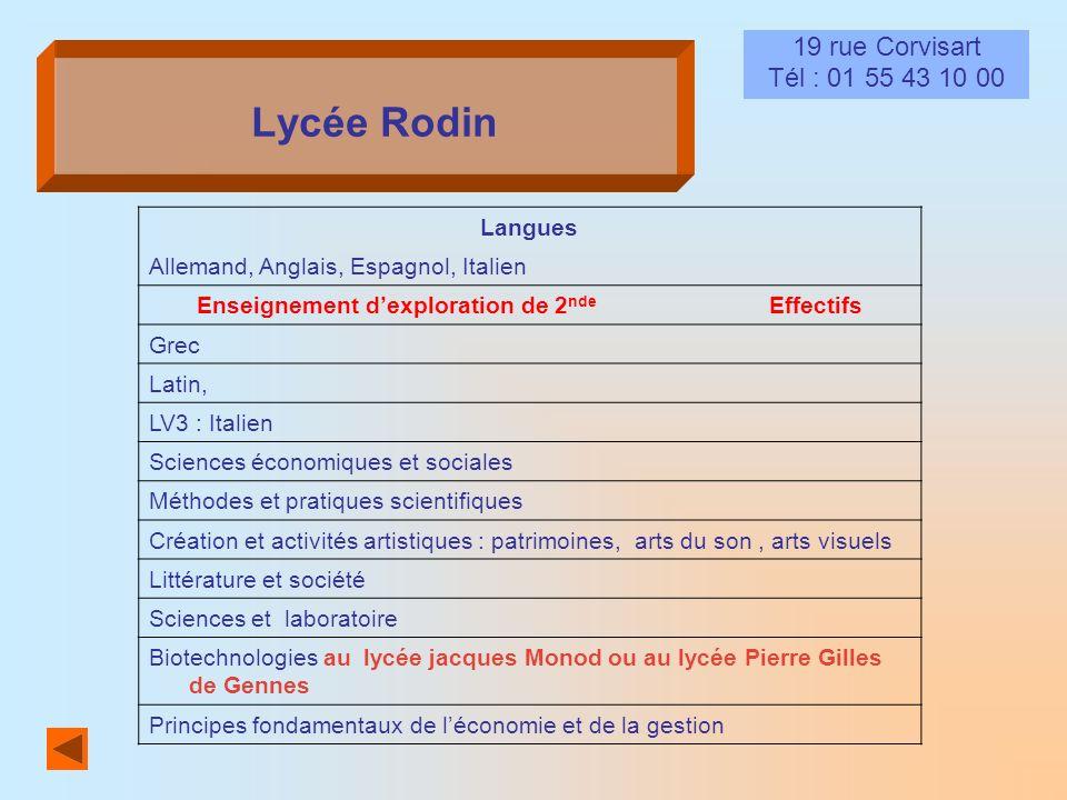 Lycée Rodin 19 rue Corvisart Tél : 01 55 43 10 00 Langues Allemand, Anglais, Espagnol, Italien Enseignement dexploration de 2 nde Effectifs Grec Latin