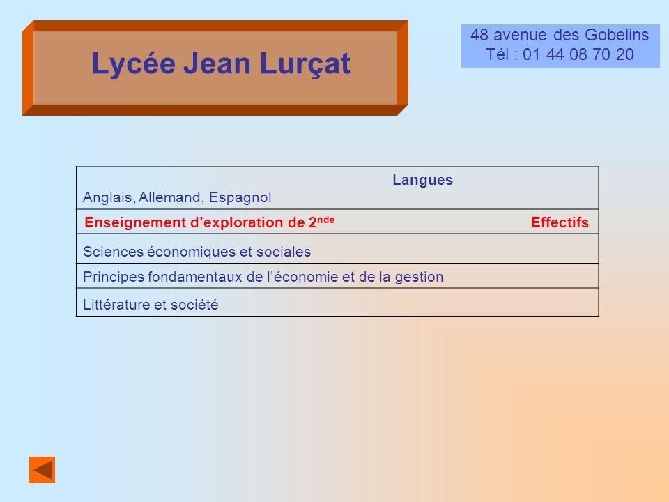 Lycée Jean Lurçat 48 avenue des Gobelins Tél : 01 44 08 70 20 Langues Anglais, Allemand, Espagnol Enseignement dexploration de 2 nde Effectifs Science
