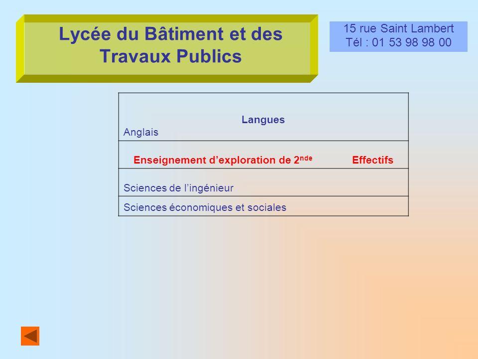 Lycée du Bâtiment et des Travaux Publics 15 rue Saint Lambert Tél : 01 53 98 98 00 Langues Anglais Enseignement dexploration de 2 nde Effectifs Scienc