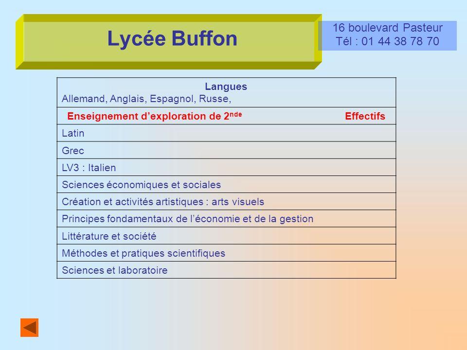 Lycée Buffon 16 boulevard Pasteur Tél : 01 44 38 78 70 Langues Allemand, Anglais, Espagnol, Russe, Enseignement dexploration de 2 nde Effectifs Latin