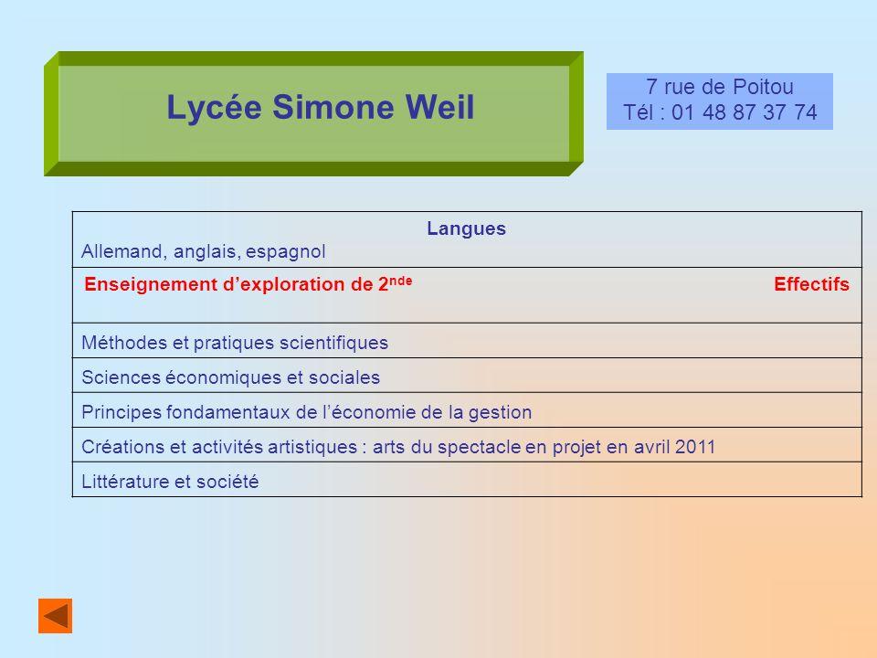 Lycée Simone Weil 7 rue de Poitou Tél : 01 48 87 37 74 Langues Allemand, anglais, espagnol Enseignement dexploration de 2 nde Effectifs Méthodes et pr