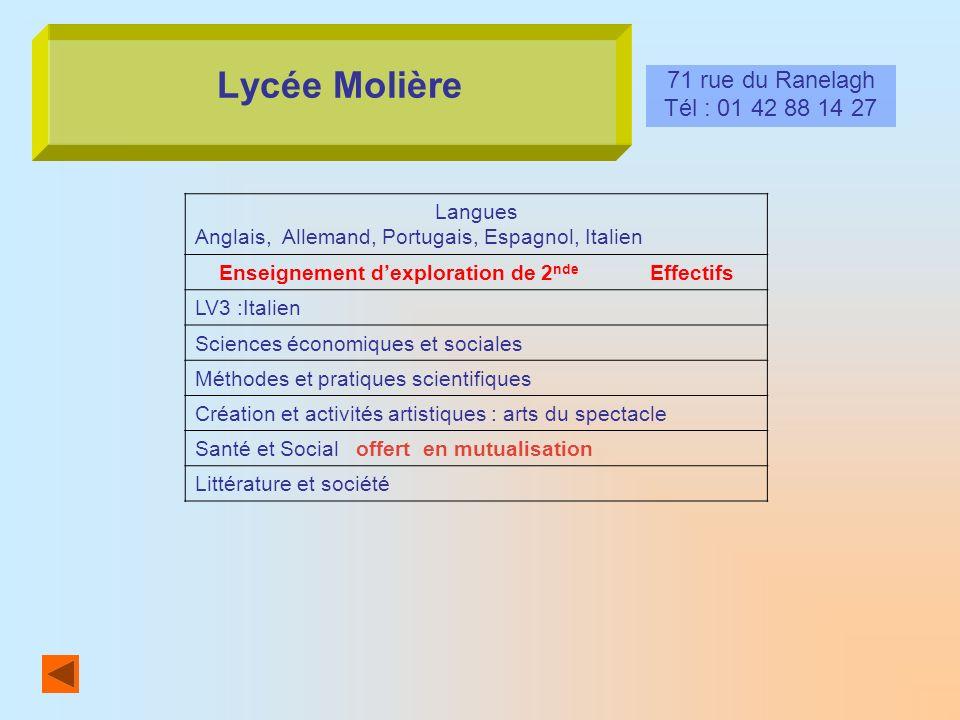 Lycée Molière 71 rue du Ranelagh Tél : 01 42 88 14 27 Langues Anglais, Allemand, Portugais, Espagnol, Italien Enseignement dexploration de 2 nde Effec