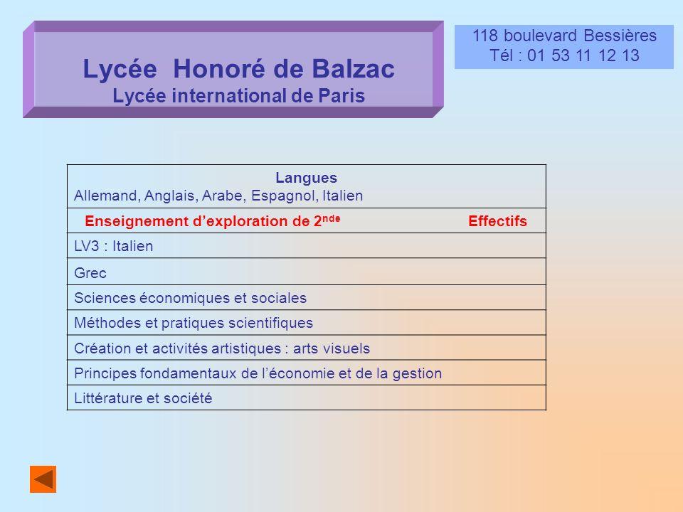 Lycée Honoré de Balzac Lycée international de Paris, 118 boulevard Bessières Tél : 01 53 11 12 13 Langues Allemand, Anglais, Arabe, Espagnol, Italien