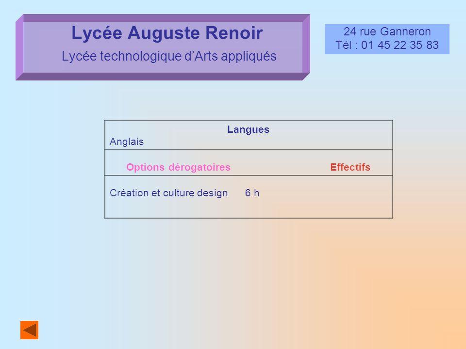 Lycée Auguste Renoir Lycée technologique dArts appliqués 24 rue Ganneron Tél : 01 45 22 35 83 Langues Anglais Options dérogatoires Effectifs Création