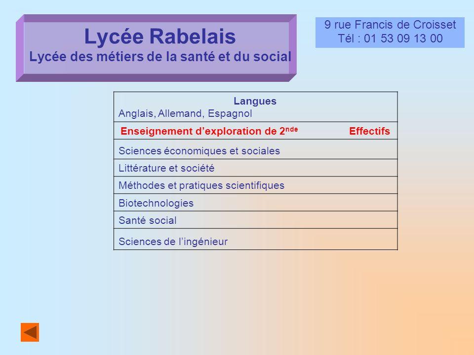 Lycée Rabelais Lycée des métiers de la santé et du social 9 rue Francis de Croisset Tél : 01 53 09 13 00 Langues Anglais, Allemand, Espagnol Enseignem