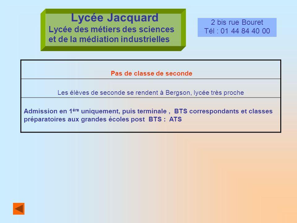 Lycée Jacquard Lycée des métiers des sciences et de la médiation industrielles 2 bis rue Bouret Tél : 01 44 84 40 00 Pas de classe de seconde Les élèv